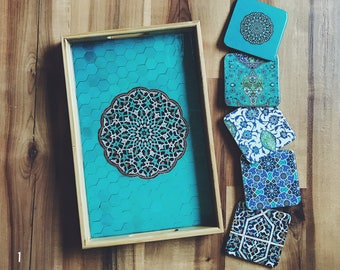 Gift Set: Persian Tile Tray with 5 coasters