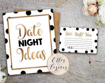 Date Night Ideas Black and White Gold Bridal Shower Games Gold and Black Bridal Shower Printable Game Dots Date Night Jar Instant Download