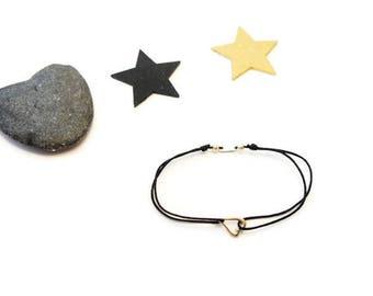 Insert heart bracelet Silver 925 black nylon DrawString