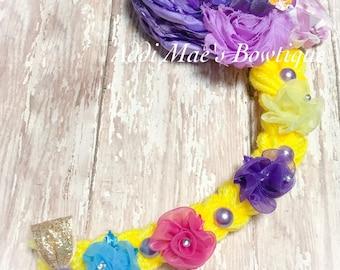 Rapunzel from Tangled inspired satin flower