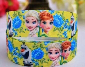 154 - Ribbon - grosgrain - frozen 22 mm sold by 50 CM - Frozen ribbon