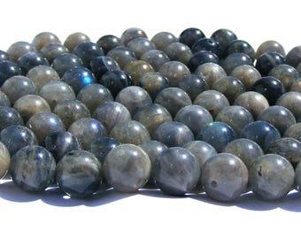 8 labradorites de 8 mm perles pierre grise irisé.