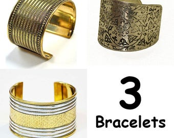 3 bracelets gold plated brass