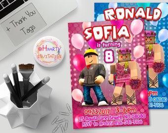 Roblox birthday invitation for girl Roblox party invitation for boy Roblox invitation download. roblox invite
