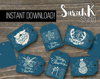 Illustrated Vintage Style Rustic Gift Tags Christmas Tags Holiday Winter Present Label