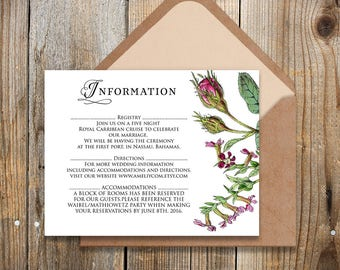 Printable Information Cards Garden Roses Wedding Info Card Wedding Details Card Template Outdoor Rustic Floral Wedding Editable Insert Cards