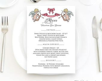 Valentine Dinner Menu Card Printable Wedding Menu Rehearsal Menu Template Editable Wedding Menu Cupid Ribbon Love Menu Sign Digital Download