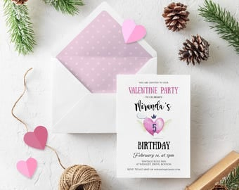 Girls Valentine Birthday Invitation Valentine Pink Heart Printed Invitations February Birthday Party Watercolor Invitations Digital Download