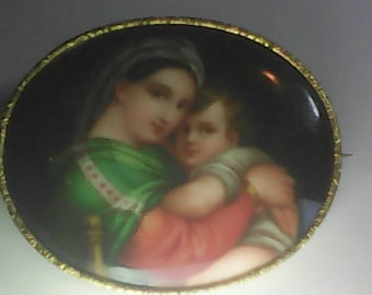 19th century miniature portrait of a woman and child,,,on ceranic bordered with gold