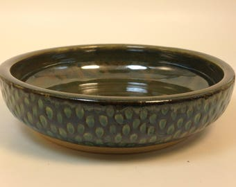 Dimpled Ceramic Serving Bowl // Blue and Black Vessel // Low and Wide Pottery // Dog or Cat Food // Textured Patterned // Hand Thrown Glazed