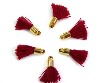 6 charms and pompoms in thread cotton 14mm - Burgundy