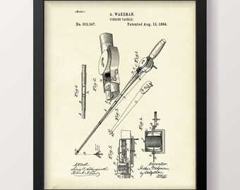 Fishing Tackle Patent Print - INSTANT DOWNLOAD - Vintage Design - Home Decor - Fishing Rod - Angling Rod - Printable Wall Art #44