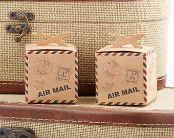 Airplane Favor Boxes Wedding Bridal Shower Travel Theme Destination Air Mail Cube Kraft Candy Box Gift Party Favors - Set of 24 - MW35184