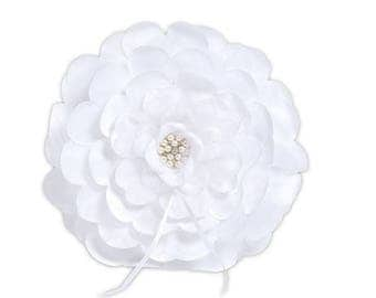 Floral Ring Pillow White Flower Wedding Ceremony Ring Bearer Unique Petals with Pearl Crystal Center - Spring Garden Wedding MW15143
