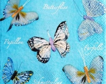 TOWEL in beautiful paper butterflies on blue #AN013