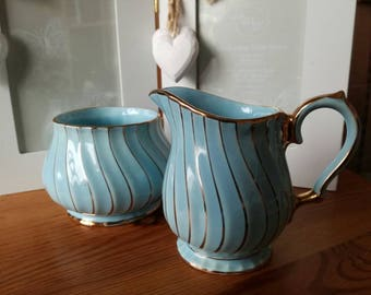 Sadler vintage sugar bowl and creamer turquoise with gold gilt 1950's