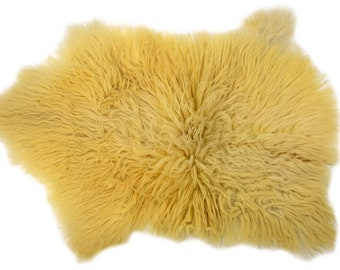 """Authentic Handmade Long Hair Sheepskin Pelt, Ethically Sourced in Europe, Genuine Leather, 2'3"""" x 3'4"""""""