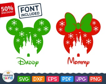 Disney Christmas Svg Mickey & Minnie Mouse Disneyland Castle Silhouette Winter Design with Snowflakes Cut files for Cricut Dxf Png Eps Jpg