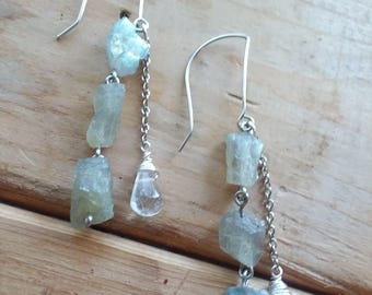 Labradorite and Clear Quartz Dangle Earrings