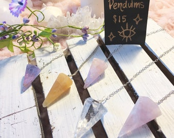 Honey Calcite, Rhodolite and Moonstone Pendulums/ Crystals/