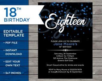 18th Birthday Invitation, 18th Birthday Invitation Template, 18th Birthday Invitation Editable, Editable Birthday Invitation, Downloadable
