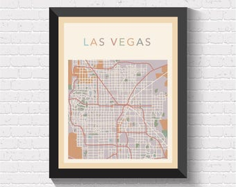 Las Vegas Map, Las Vegas City Map, Las Vegas Street Map, Las Vegas Art, Las Vegas Print, Las Vegas Poster, Las Vegas Map Print, Las Vegas