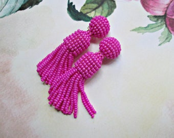 Hot pink color/oscar de larenta/Short-tassel/handmade/ clip on earrings/earrings tassels/Unique Gift