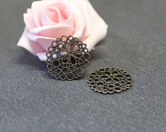 6 small connectors round 23 mm COB121 bronze metal flower