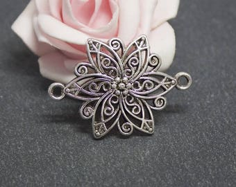 x 4 connectors flower in antique silver 40 x 28 mm COA105