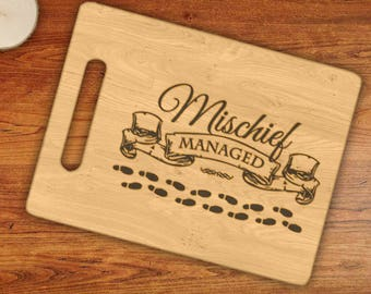 Mischief Managed Harry Potter Inspired Engraved Cutting Board