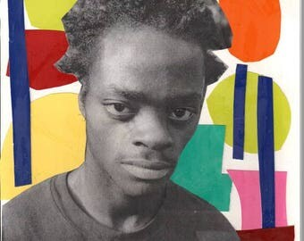 HAROLD HUNTER KIDS abstract handmade art collage cut out cut and paste print
