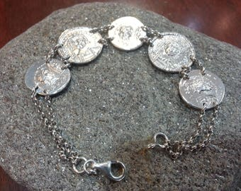 Hand-argento925 bracelet with reproduced coins