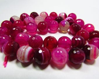 Set of 2 pink Agate faceted 10mm beads
