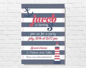 Sailor party invitation, Nautical birthday cards, 3rd anniversary, Blue and red invitation, Sailor birthday cards, Nautical printable theme
