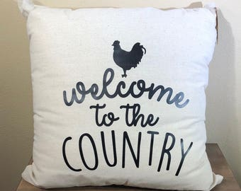 Natural Canvas Pillow - Welcome to the Country