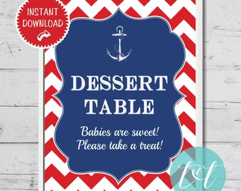 """Nautical Baby Shower Ahoy It's a Boy Dessert Table Sign 8"""" x 10"""" Instant Download"""