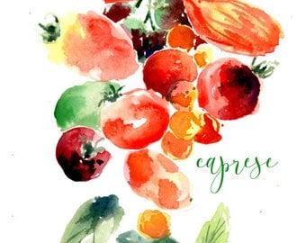 Caprese watercolor print, tomatoes, basil vegetable kitchen art, gift for gardener