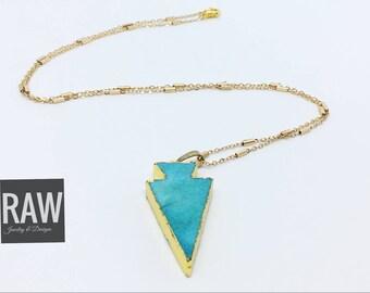 Blue quartz arrowhead necklace