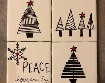 Christmas Coasters- customizable colors!