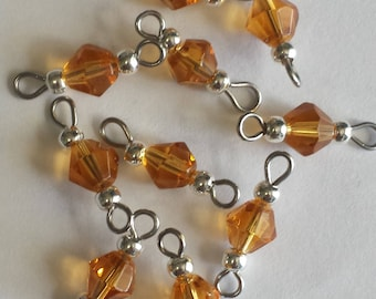 5 connectors 6mm Topaz glass bicone beads
