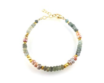 Aquamarine Pink Silverite Gemstone Beaded Bracelet with Vermeil Beads, Stacking Bracelet, Boho Style Boutique Jewelry, Artisan Handcrafted