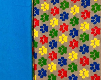Bright & Colorful Paw Print Patterned Child/ Toddler Sized Sewn Blanket
