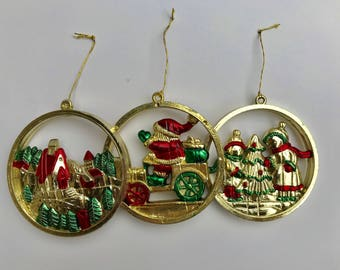 Gold Panorama Ornaments 1980's - Vintage Plastic Gold Ornaments Set of 3
