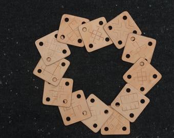 Cards for tablet weaving / Handcarved ancient symbols / Viking weaving / Tablets for belts trims bands / Set of 12 pcs.