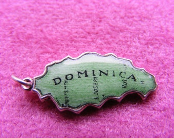 D) Vintage Sterling Silver Charm Enamelled Dominica Map