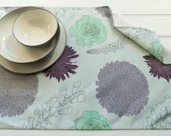 Tea Towel in Foxgloves & Chrysanthemums Mint Pattern Made from 100% Cotton