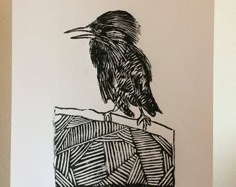 A4 size Lino cut print of a bird