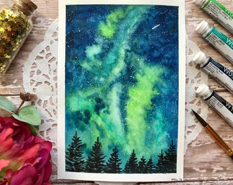 "7x5 Original ""Green & Blue"" Galaxy watercolor painting"