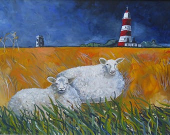 "Original Norfolk Landscape Painting by Susanne Mason, ""Happy Sheep"""