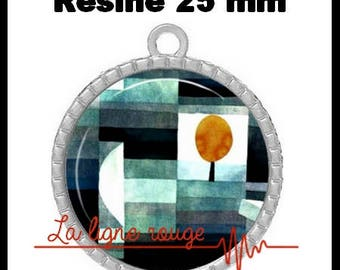 Silver Pendant round Cabochon 25 mm epoxy resin - Klee tree (178)